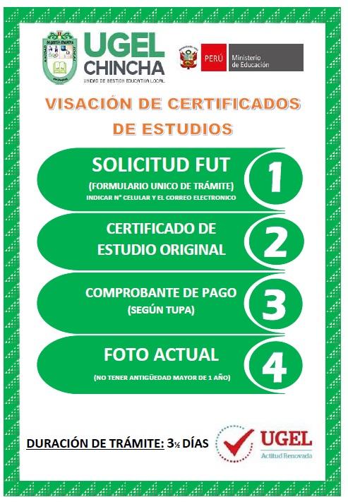 Descargue en el siguiente link , los requisitos para realizar trámite en la UGEL Chincha. Entre ellos, visación de certificado de Estudios, trámite de beneficios sociales (Sepelio y luto), entre otros.