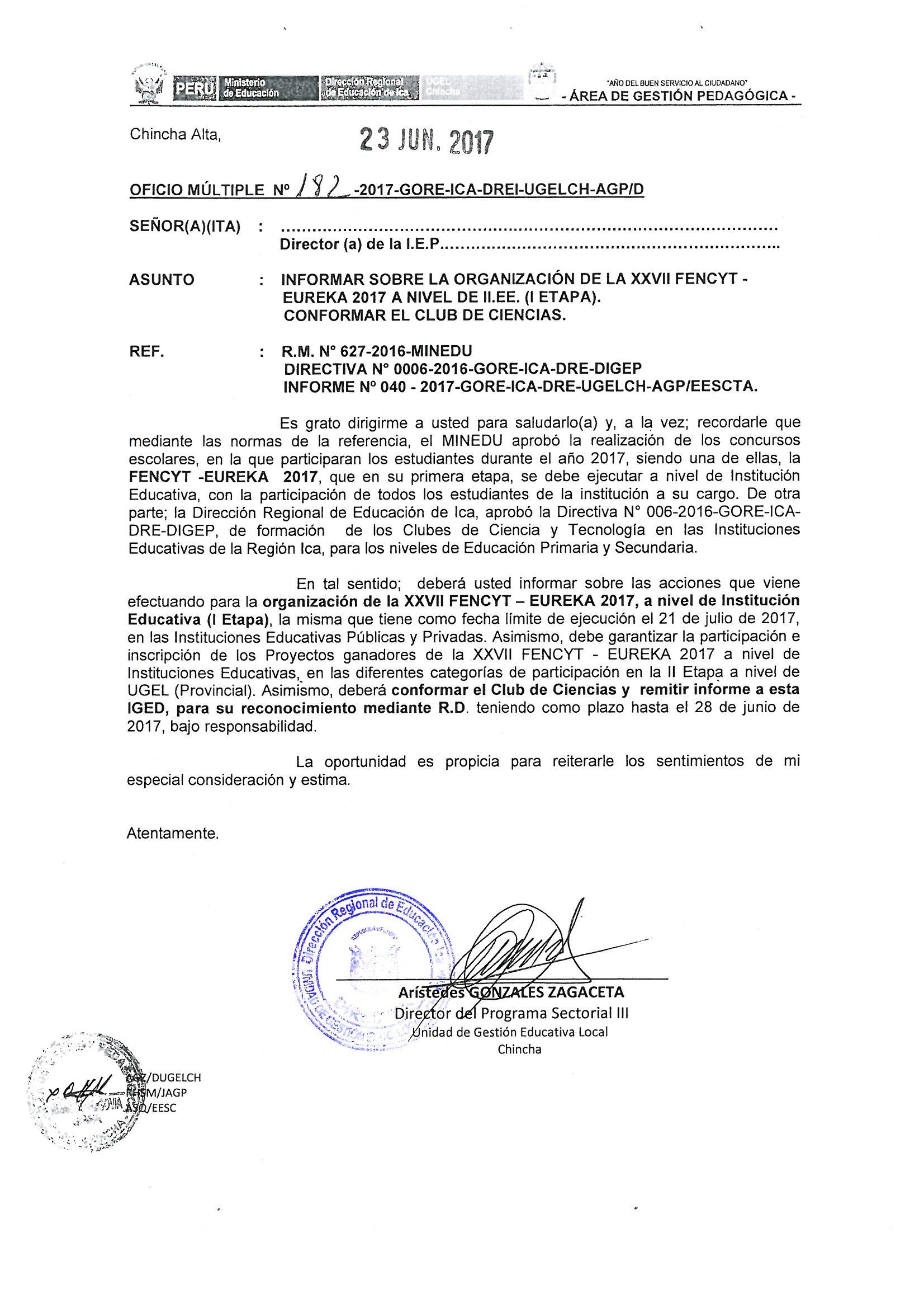 SOBRE ORGANIZACIÓN DE FENCYT
