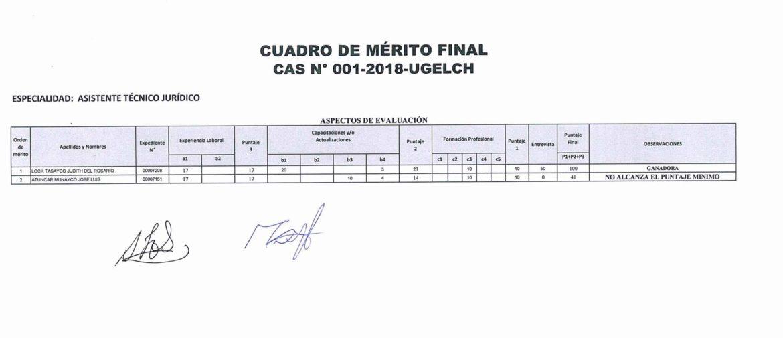 CUADRO DE MÉRITO FINAL - CAS N° 001-2018